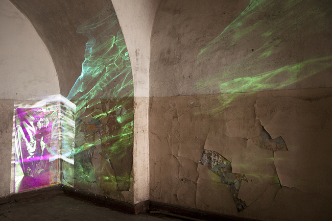 Jeawon Kim installation Radiant film, found objects, video projection