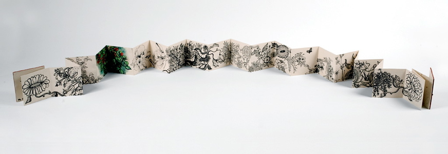 Jill Slaymaker Text/Book Art ink and gouache on folded paper