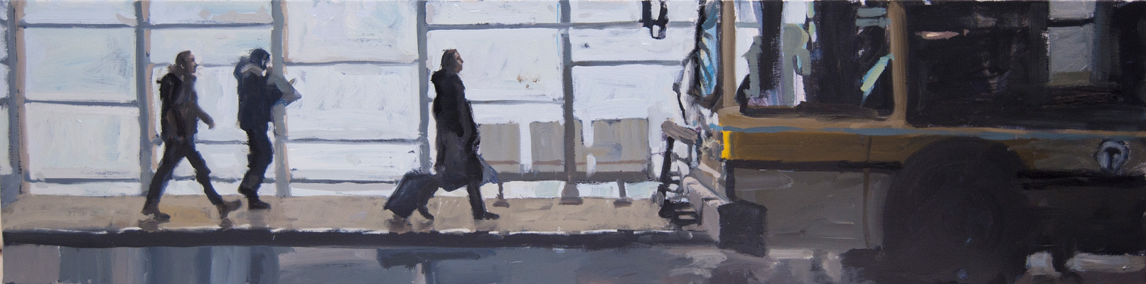 John Bonner Commuters Oil on canvas