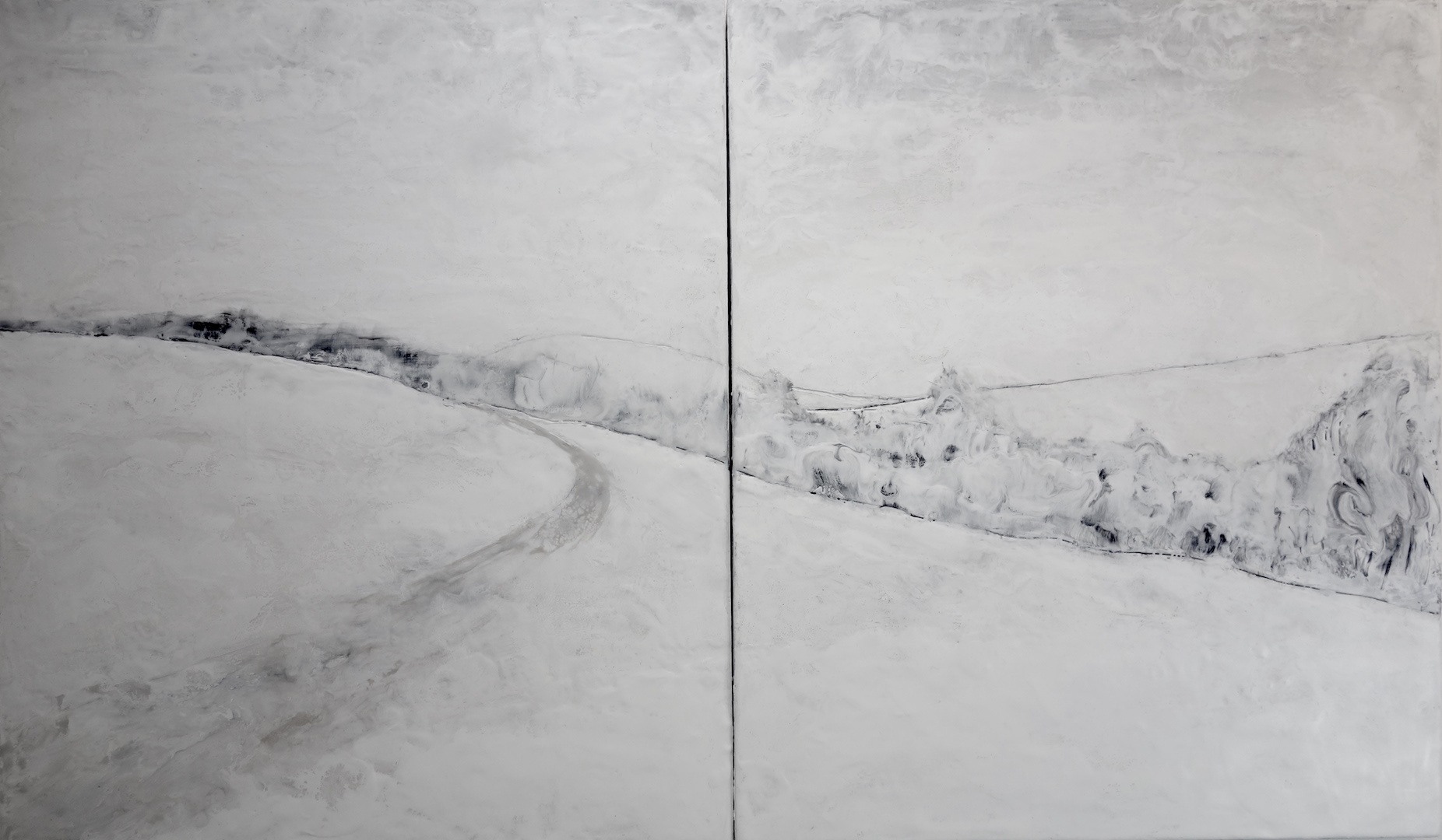 Encaustic  Winer White (diptych)