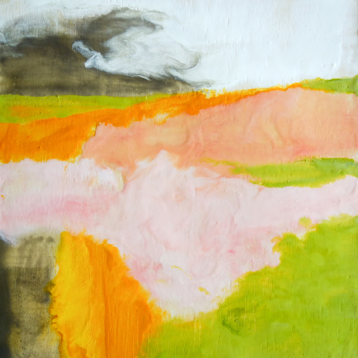 Encaustic  Dawn Landscape (dawn walk)