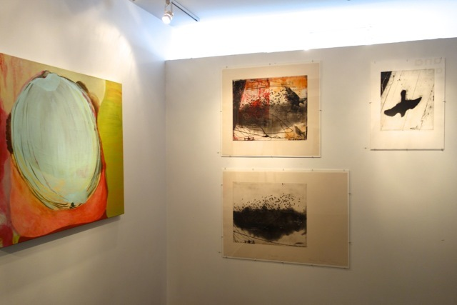 From Where I Stand: 12 Contemporary Abstract Artists L: Oil painting by Patricia Spergel; R: silkscreen prints by Roxanne Faber-Savage