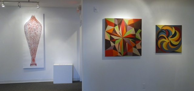 From Where I Stand: 12 Contemporary Abstract Artists L: Digital Chrome inkjet print by Henry Mandell; Oil paintings by Jackie Meier