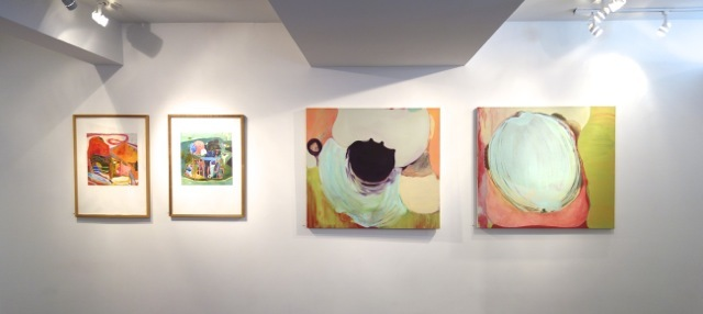 L: Prints by Julian Hallton; R: Oil paintings by Patricia Spergel