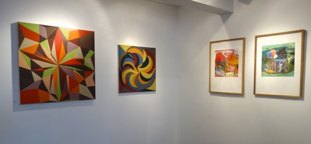L: Oil paintings by Jackie Meier; R: Prints by Julian Hatton