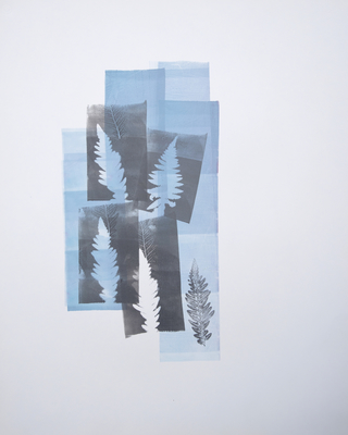 Katharine Dufault Work on Paper monoprint. roller, stencil on Strathmore paper