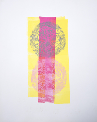 Katharine Dufault Work on Paper Lino Cut, roller on Strathmore paper