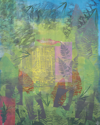 Katharine Dufault Work on Paper monoprint, linocut, xerox litho. stencil on Strathmore paper