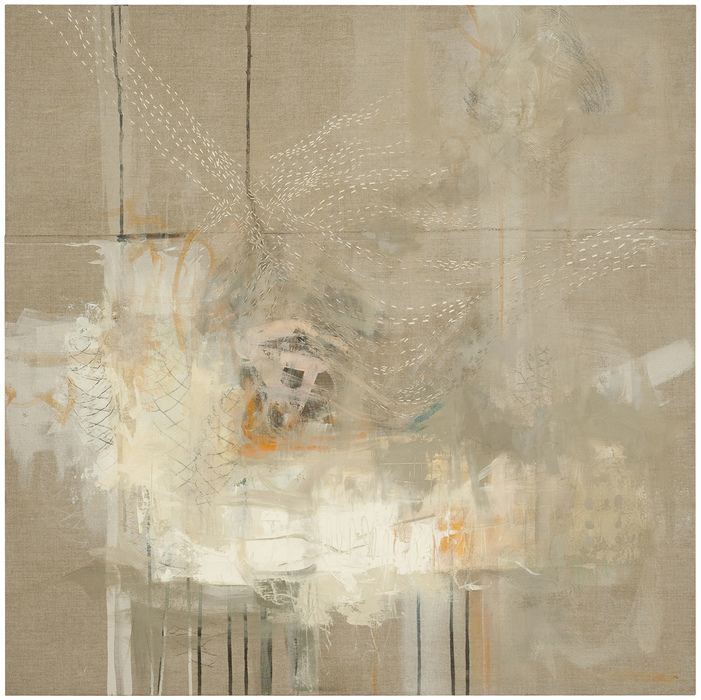 KRISTIE SEVERN Previous Work Sewn panels, stitching, acrylic, oil and graphite rubbings on linen