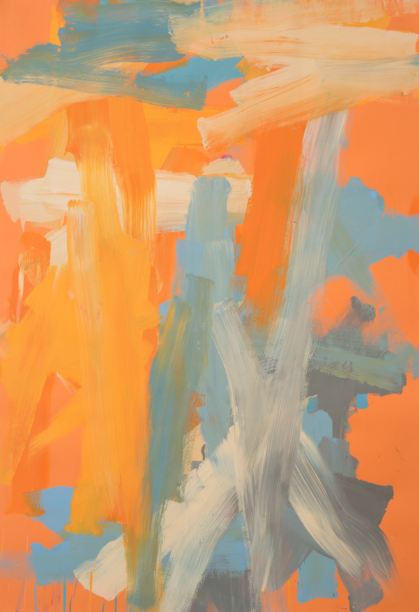 Leah Durner Works on Italian Colored Papers (39x27.5 in and larger) gouache on orange Fabriano Tiziano colored paper