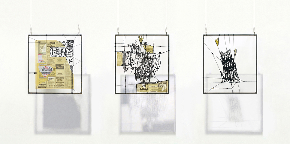 Leslie Hirst Message Threads collage of telephone directories and black cotton thread mounted to steel frame