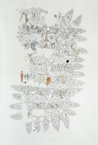 Leslie Hirst Message Threads ink and fragments of hand-written letters on vellum