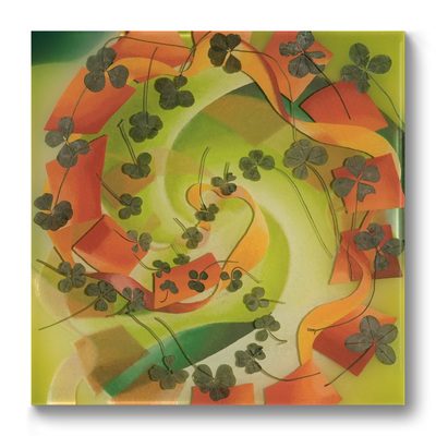 Leslie Hirst Clover Paintings  four-leaf clovers, enamel, and resin on wood