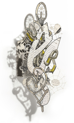 Leslie Hirst Graffiti Lace collage of antique etchings, antique hand written letters, and telephone directories stitched with cotton thread