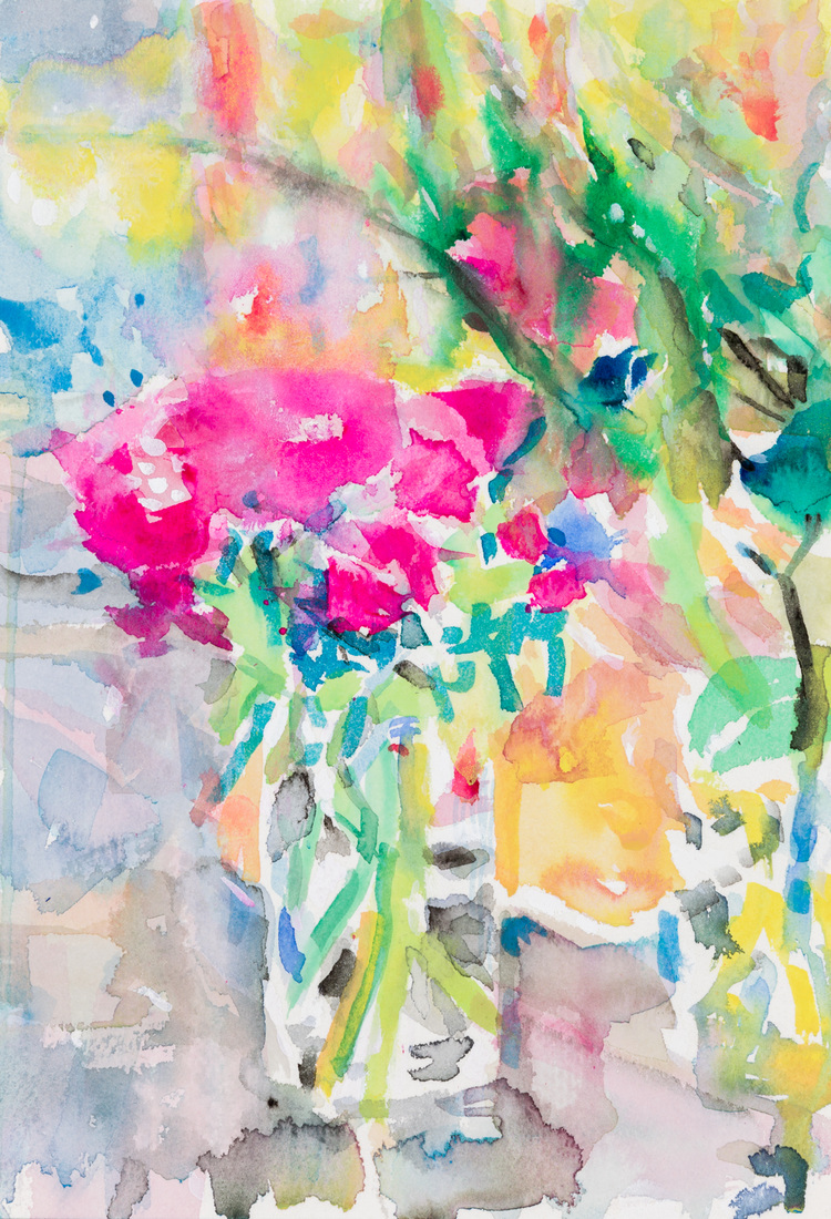 Works on paper Pink Camellia Water's Edge