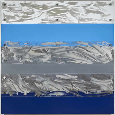 MARY GILLIS Metalscapes thermoset polymer on aluminum, acrylic on acrylic sheet