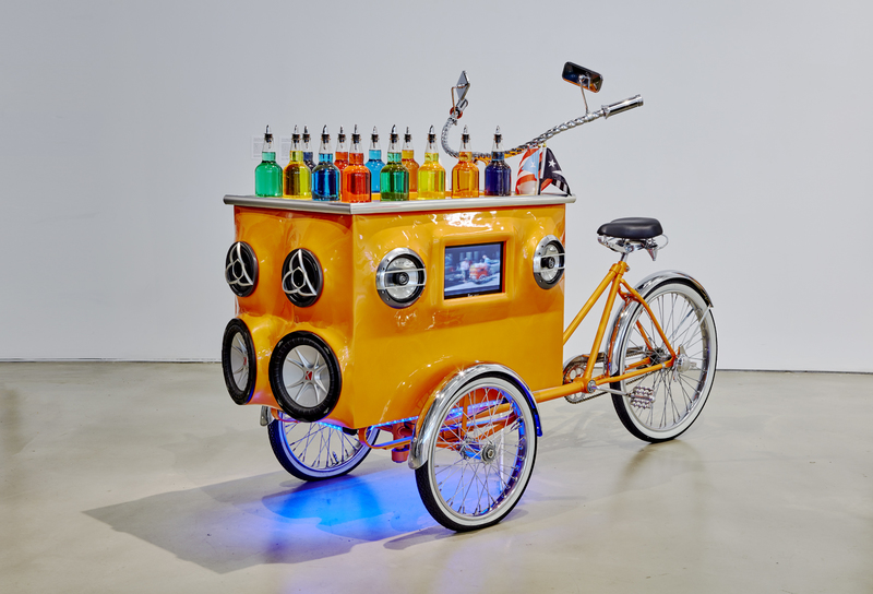 Miguel Luciano Pimp My Piragua Customized tricycle-pushcart, sound, video, LEDs