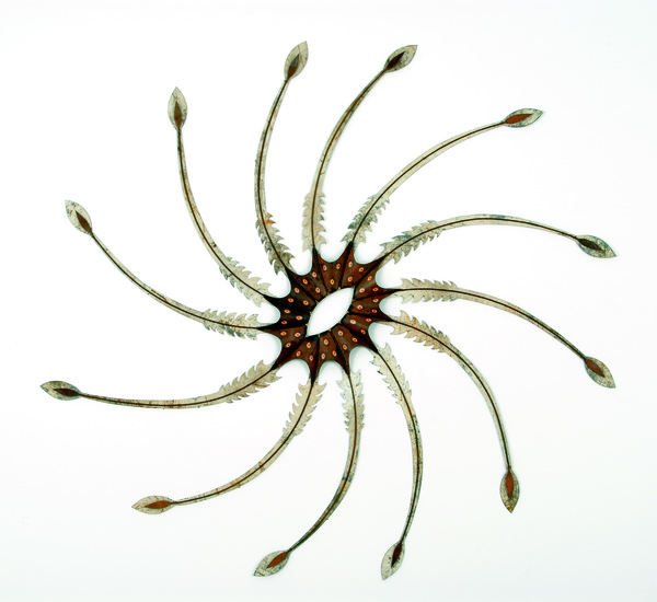 "Pam J. Brown Sculpture 1/8"" sheet metal, 1/4"" metal rod, 24 ga. steel wire, color xerox."