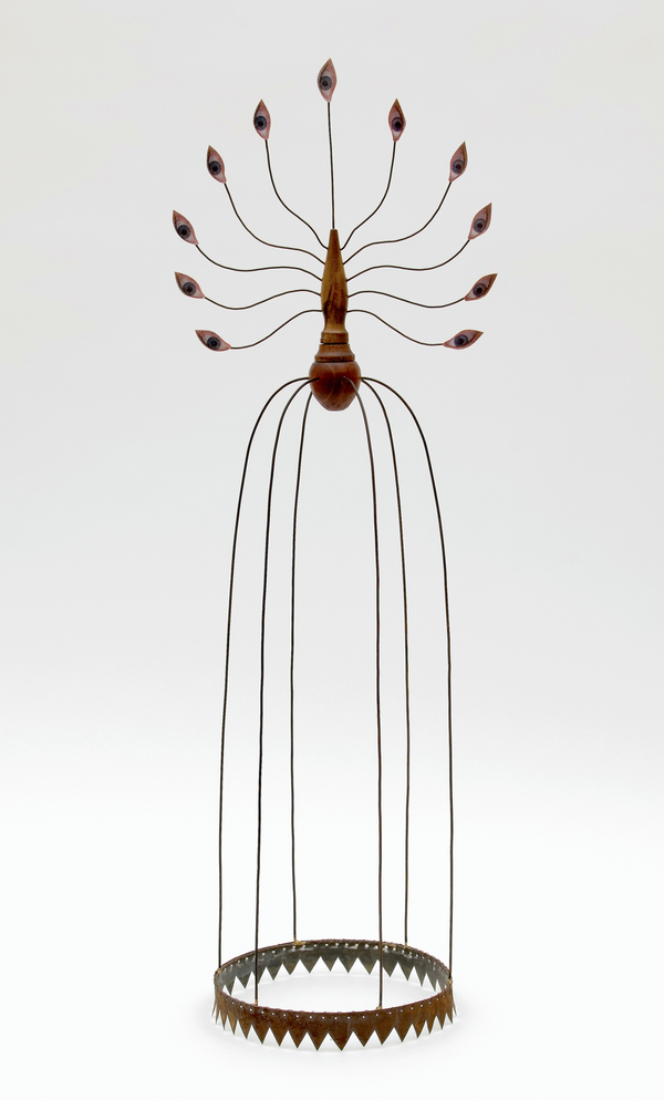 "Pam J. Brown Sculpture 1/16"" sheet metal, 14 ga. steel wire, 24 ga. steel wire, wood, fabric, color xerox."