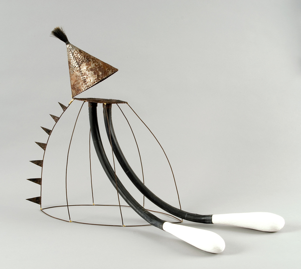 "Pam J. Brown Sculpture 1/16"" sheet metal, 14 ga. steel wire, rubber bicycle inner tube, plaster, boar bristles."