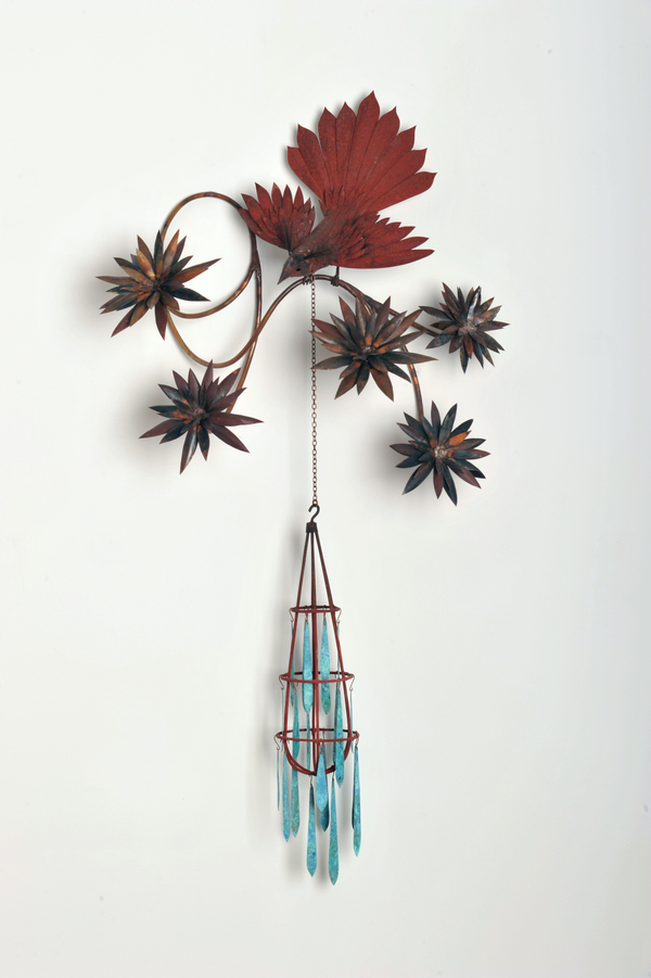"Pam J. Brown Sculpture 16 oz. copper sheeting, 1/4"" copper tubing, silver soldier, boar bristles, patina."