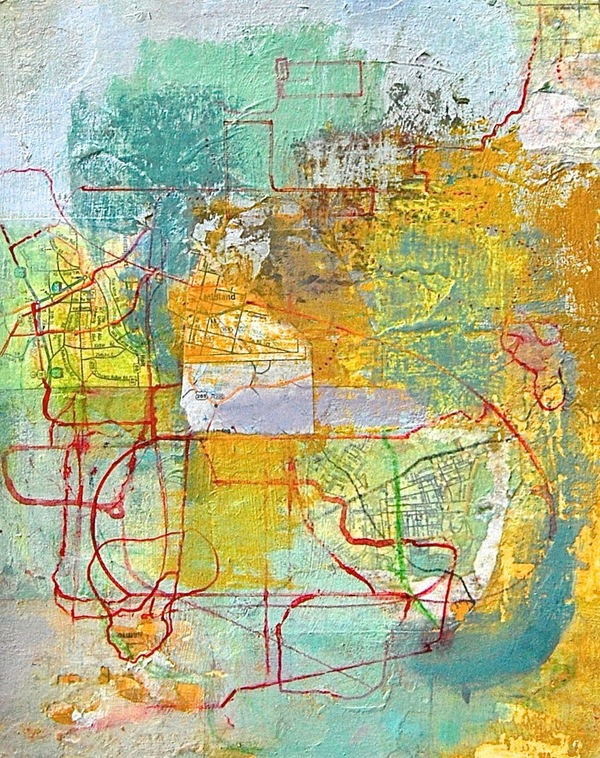 Patty Stone Mapping 2009-2016 oil, collage on panel