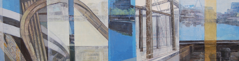 Patty Stone Charles River Collage inkjet prints, acrylic, oil on panel