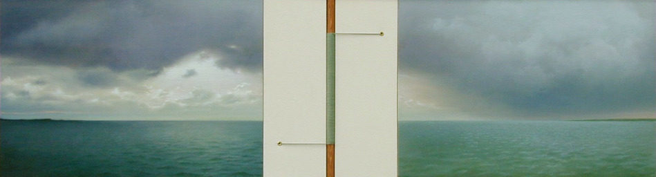Peter Malone Multiple panel 1992-2002 oil on linen, raw canvas, stained oak, dyed string