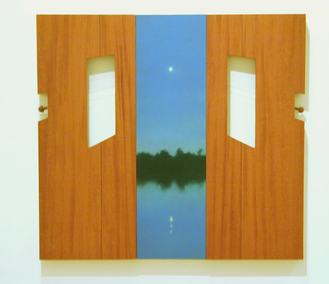 Peter Malone Multiple panel 1992-2002 oil on linen, wood panels, gold wire, cello pegs