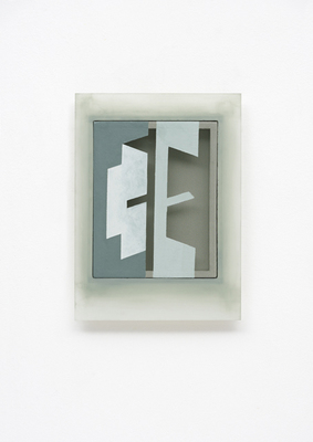 PIERRE LOUAVER TOPOI PAINTINGS acrylic paint on polyester & oil paint on plexiglass frame.