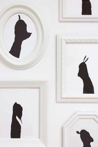 Rebecca Doughty somebodies ink on paper in painted frames