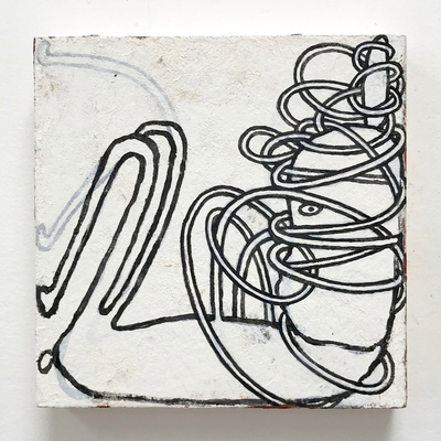 Rebecca Doughty tangles paper and acrylic on wood