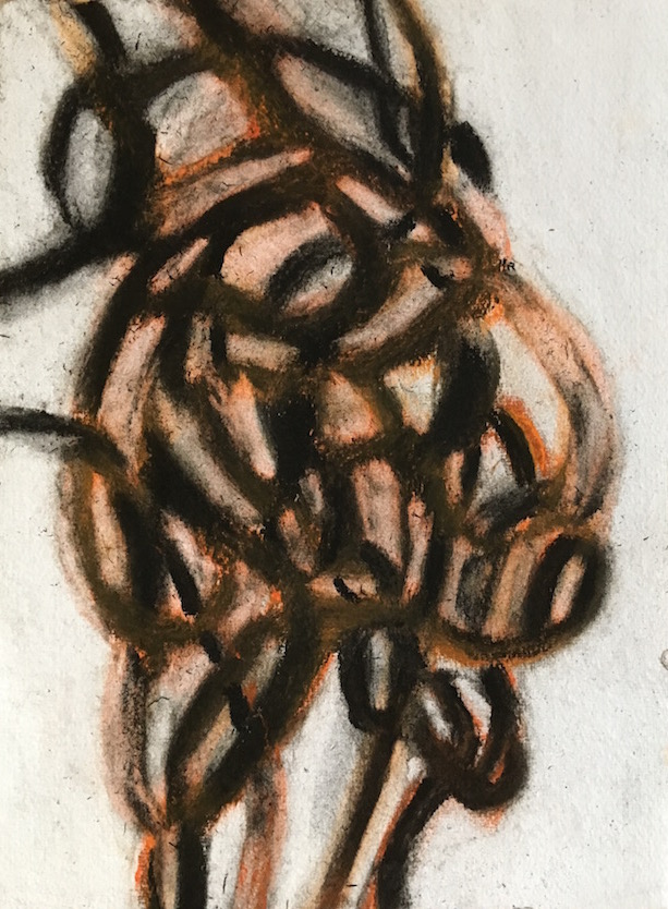 """Street Tar"", pastel and charcoal on handmade paper 6."