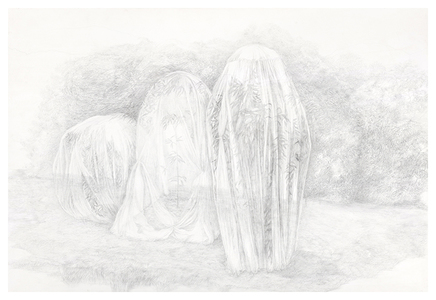 Shona Macdonald Ghosts silverpoint on absorbent ground on paper