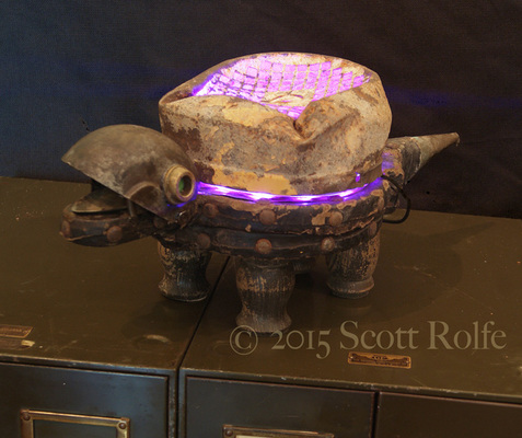 Rusty Crocodiles - The Assemblage Art of Scott Rolfe The Piecable Kingdom Assemblage and adjustable LED lighting