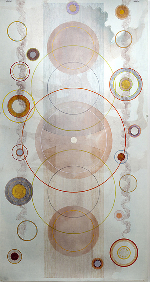 Tayo Heuser Large Circle Vertical Drawings Ink on hand burnished paper