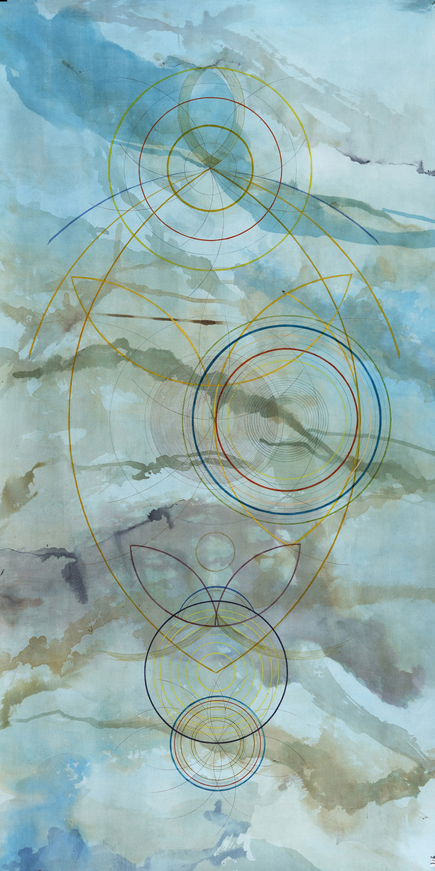 Tayo Heuser Large Circle Vertical Drawings Inks on hand burnished paper