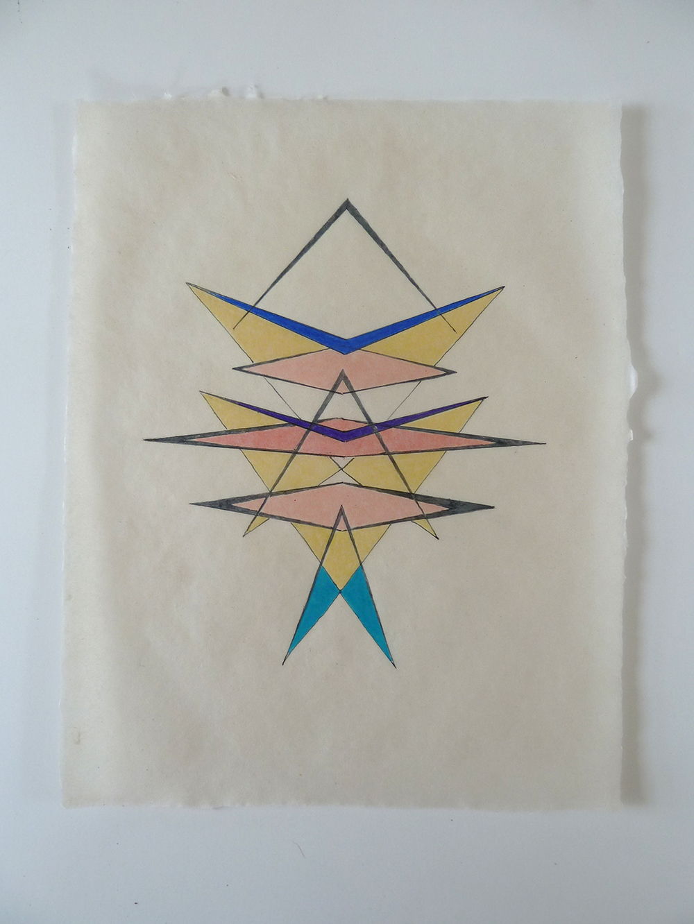 Tayo Heuser Small Geometric Drawings on abaca paper Ink and pencil on handmade abaca paper
