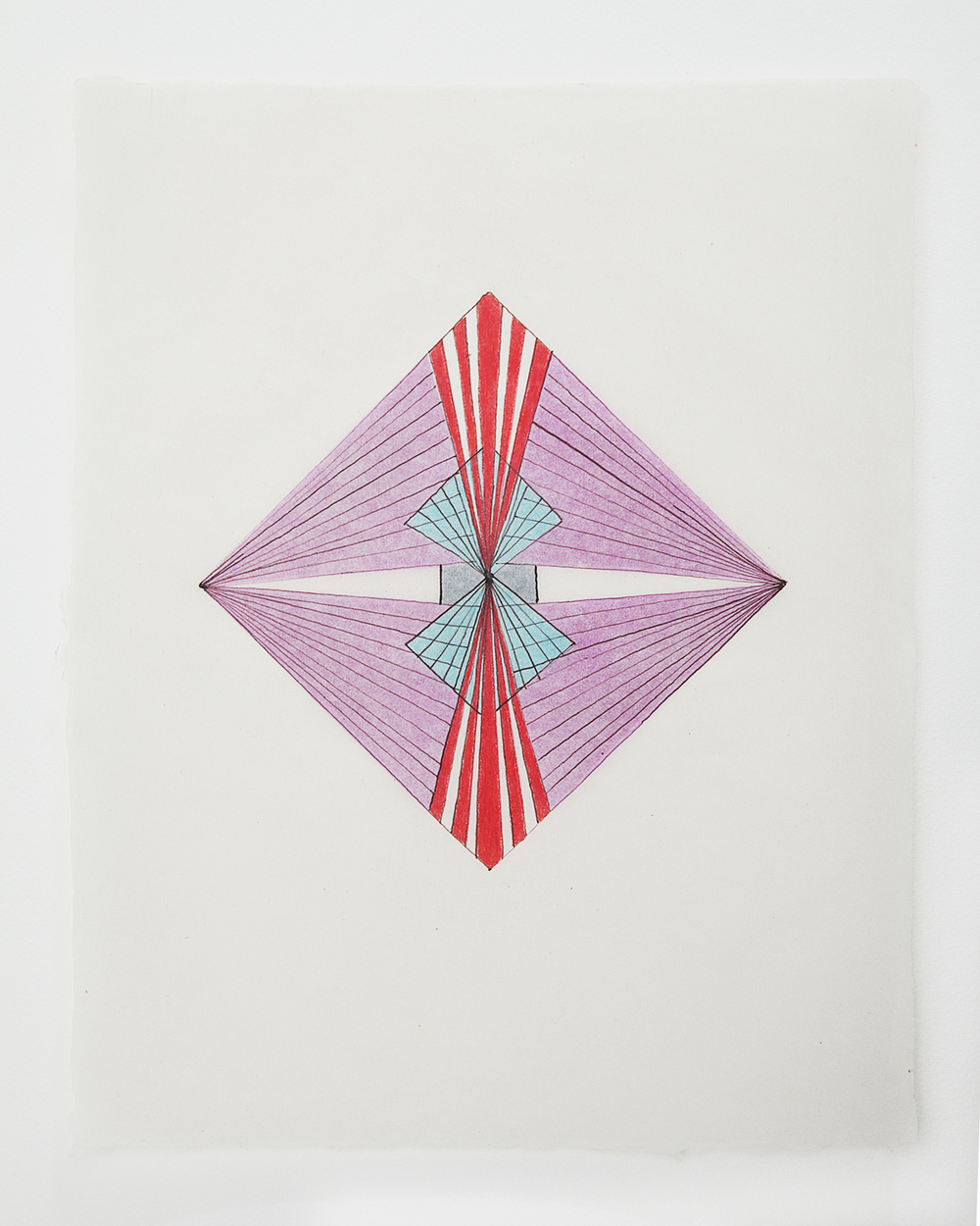 Tayo Heuser Small Geometric Drawings on abaca paper ink and colored pencil on abaca paper
