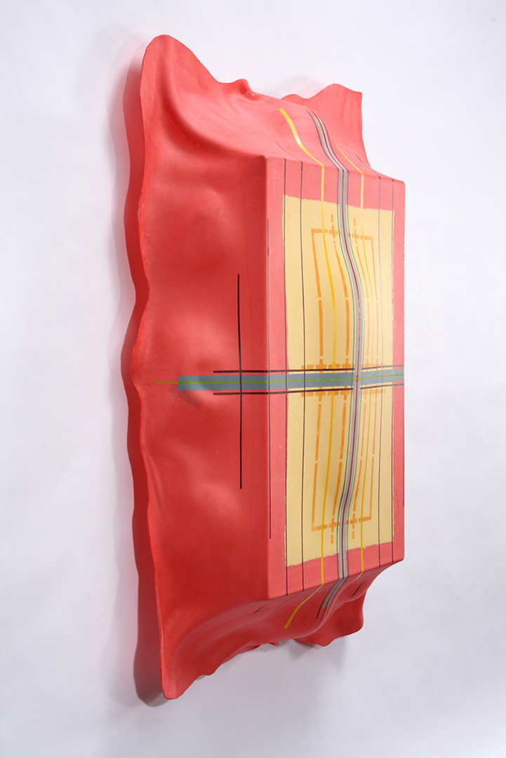 "Tayo Heuser Paper ""Shields"" Abaca and linen handmade and hand tinted paper, ink, mounted to hand molded acrylic backing"