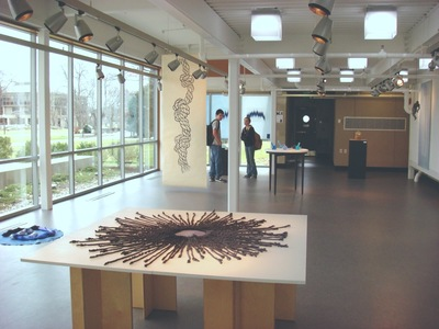 "Tayo Heuser ""The Big Blue"" Exhibition Gallery Roger Williams University Dyed string and woodcut"