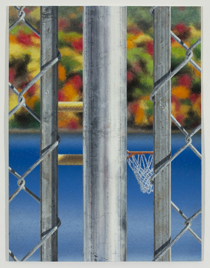 Work Fence with Hoop, Water and Trees, 2017