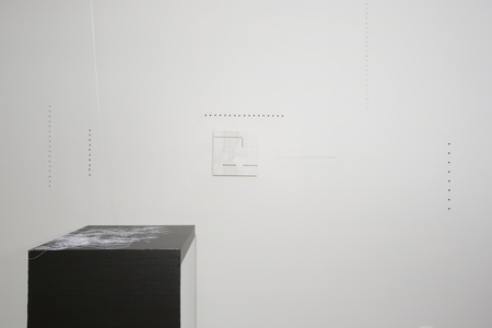 ZAUN LEE installation : open ended tape, string, nails, and small scale paintings embedded in the installation