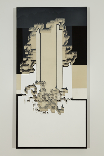 ZAUN LEE painting : open ended graphite and ink drawings of lego blocks on layers of translucent acrylic medium with acrylic paints on wood panel