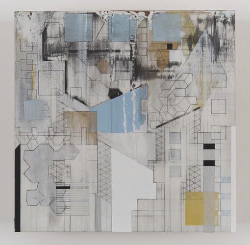 ZAUN LEE broken grids graphite and acrylics on wood panel