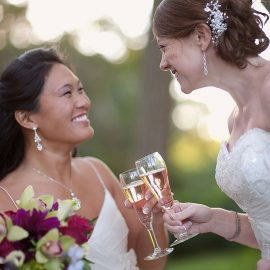 Brides Toasting
