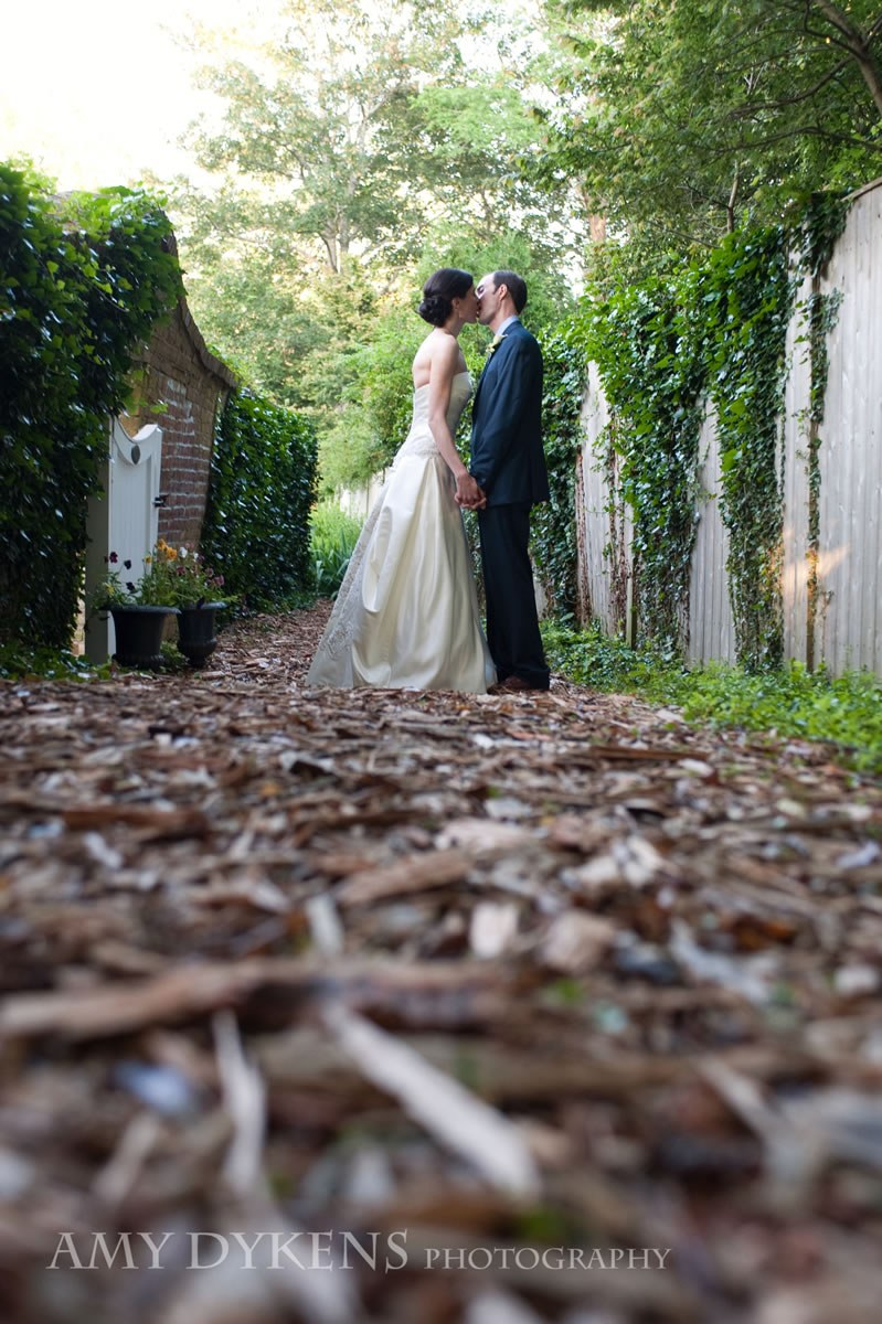 Bride And Groom On Wood Path
