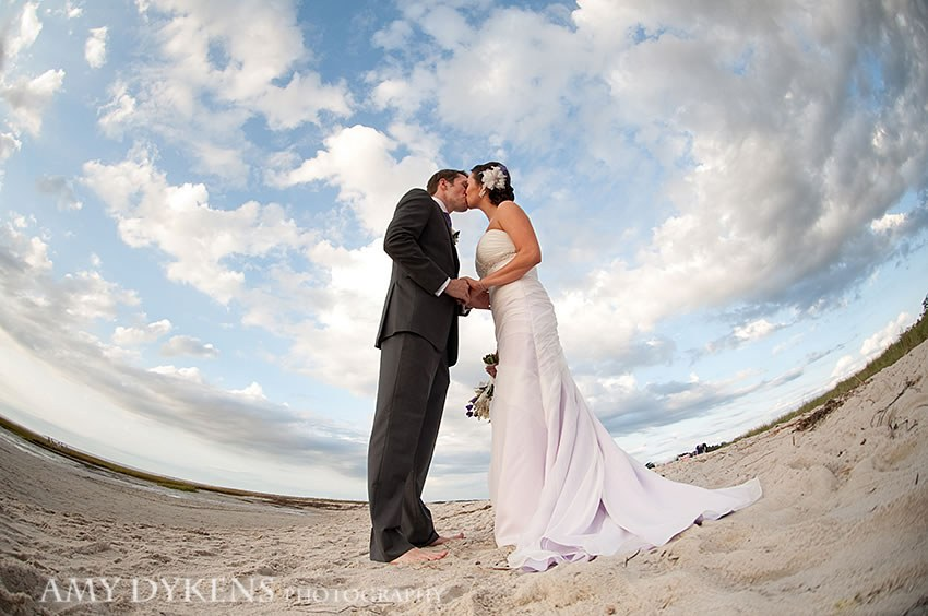 Bride With White Flowers In Hair At Beach