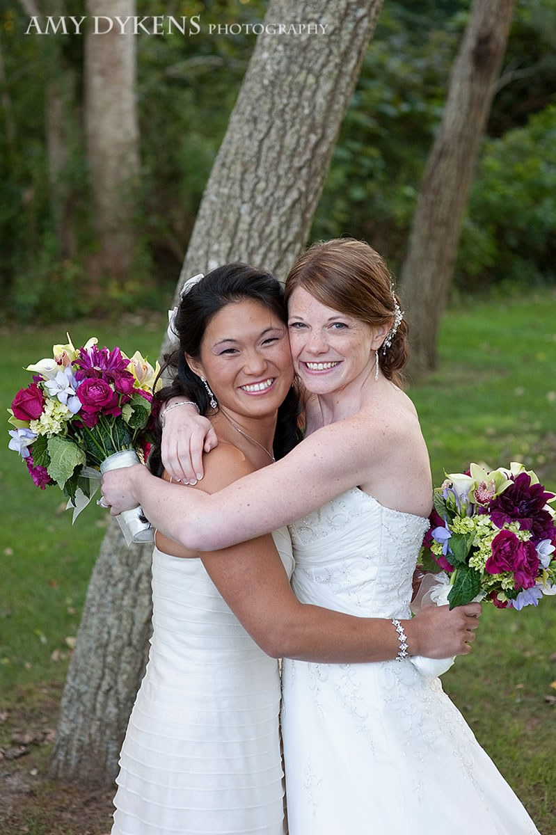 Brides Hugging By Trees