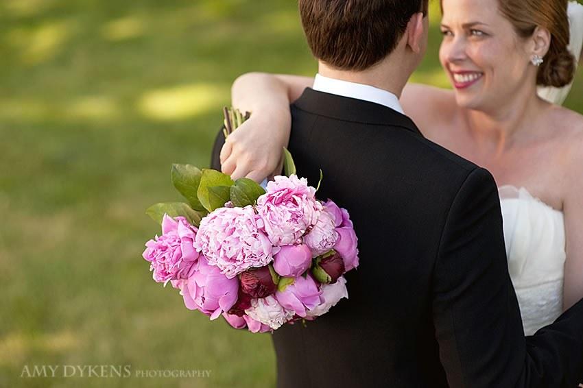 Pink Flowers Over Shoulder